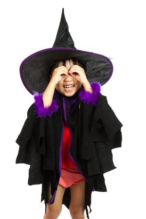 petite fille avec robe: Asian Little Girl chinoise Porter Halloween Costume isol� sur fond blanc. Banque d'images