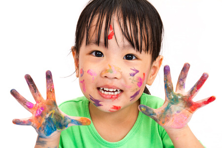 Asian little chinese girl painting with watercolor at home asian little chinese girl playing and painting isolated on white background photo voltagebd Image collections