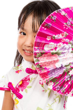 beauty background: Asian Little Chinese Girl Holding Oriental Fan isolated on White Bakground
