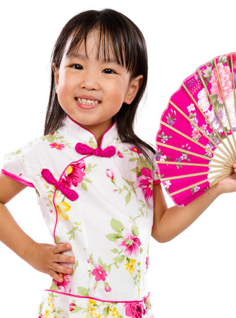 studio background: Asian Little Chinese Girl Holding Oriental Fan isolated on White Bakground
