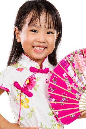 cute girl: Asian Little Chinese Girl Holding Oriental Fan isolated on White Bakground