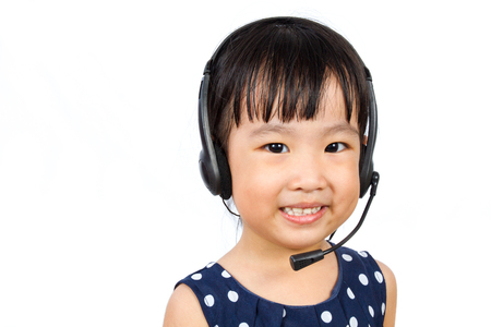 small girl: Asian Little Chinese Girl Wearing Headset isolated on White Background Stock Photo