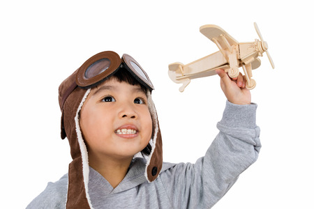 asia people: Asian Little Chinese Girl Playing with Toy Airplane in isolated White Background