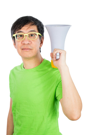 glower: Asian Chinese Man Holding a Megaphone in isolated White Background