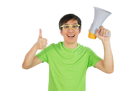 remonstrance: Asian Chinese Man Holding a Megaphone in isolated White Background