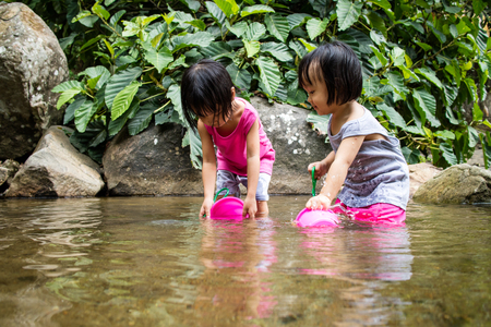 ni�as chinas: Asian Little Chinese Girls Playing in Creek in the Forest Foto de archivo