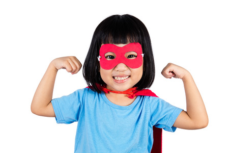 asian children: Asian Little Chinese Girl Wearing Super Hero Costume in isolated white background.