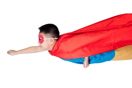 asian children: Asian Chinese boy wearing super hero costume in isolated white background.