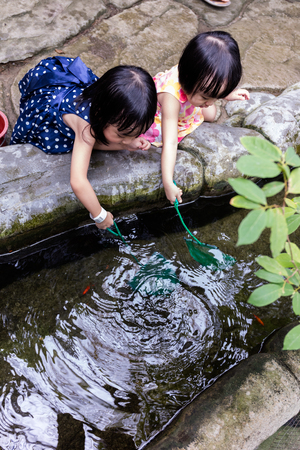 manmade: Asian Chinese Little Girls Fishing With Scoop Net At Outdoor Man-made Pond