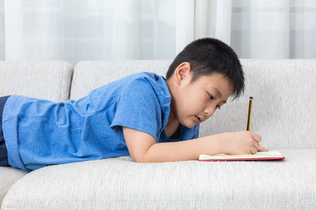 asian boy: Asian Chinese little boy writing book on the sofa in the living room at home.