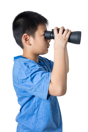 asian boy: Asian Chinese little boy holding binoculars in isolated white background.