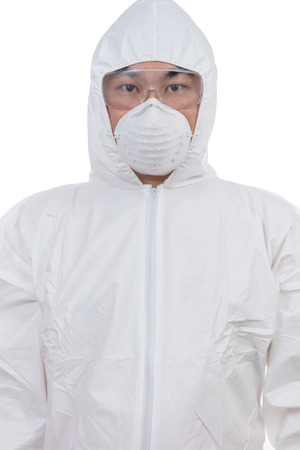 Asian Chinese scientist in protective wear with glasses and respirator in isolated white background.