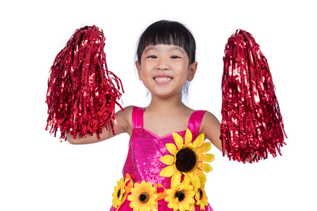 cheerleading squad: Asian Chinese cheerleader girl holding a pompom in isolated white background