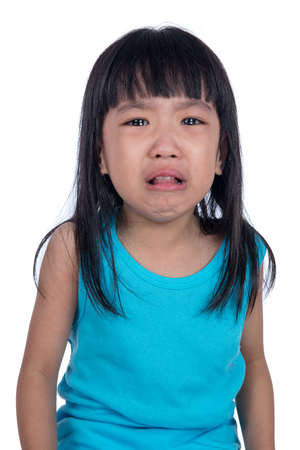 Crying Asian Chinese little girl in isolated white background