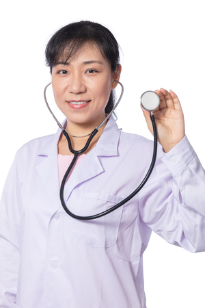 sound therapist: Asian female doctor holding stethoscope in isolated White Background Stock Photo