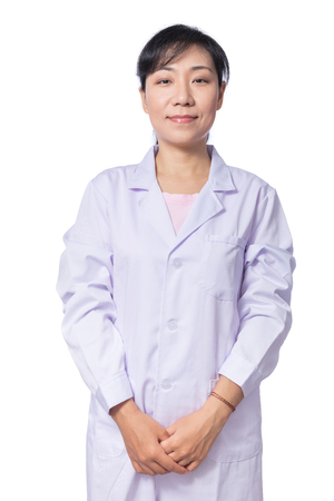 medical laboratory: Portrait of Asian female doctor in isolated White Background