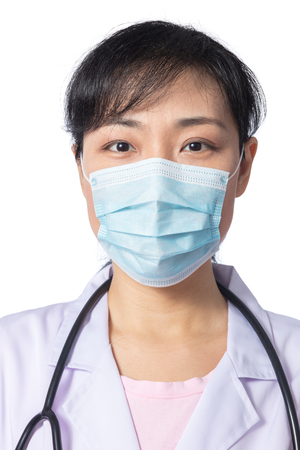 surgical mask woman: Asian female doctor wearing a mask in isolated White Background Stock Photo