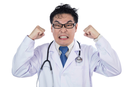 crazed: Asian Chinese male frustrated crazy doctor screaming in isolated White Background