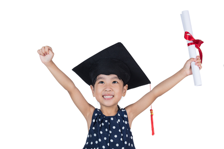 acclamation: Asian Little Chinese girl wearing graduation cap and holding diploma in isolated white background