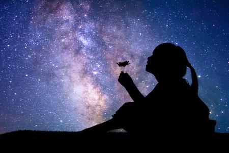 Silhouet van meisje die een bloem houden bij de sterrenachtergrond