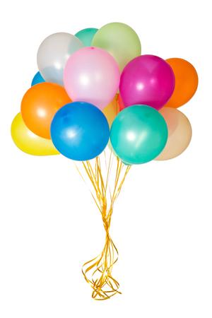 Kleurrijke ballonnen met gele linten in geïsoleerde witte achtergrond