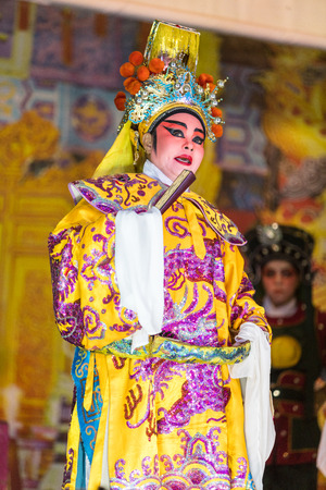 A member of Chinese Opera group perform in Tanjung Sepat, Selangor, Malaysia on Wednesday, Jul. 19, 2017.   The Opera Group is from Thailand Shengngoy Troupe, they perform the opera in Chinese Teochew dialect.