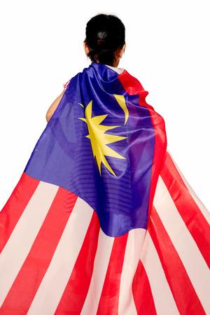 격리 된 흰색 배경에서 말레이시아 플래그로 아시아 중국 소녀 스톡 콘텐츠
