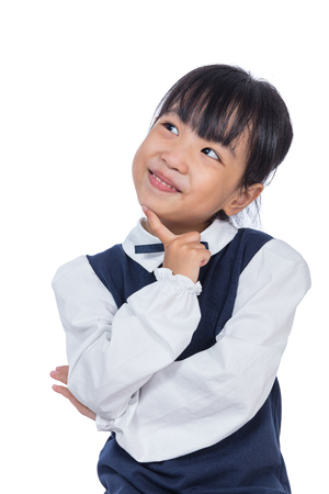 Portrait of Asian Little Chinese Girl thinking with finger on chin in isolated White Background