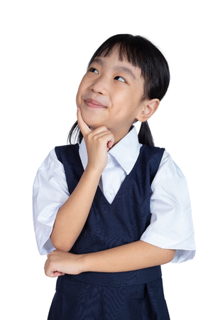 Asian Little Chinese Girl thinking with finger on chin in isolated White Background