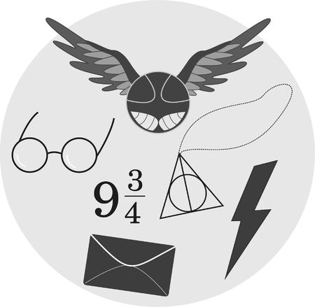 Set of magic icons, black and white, vector, elements