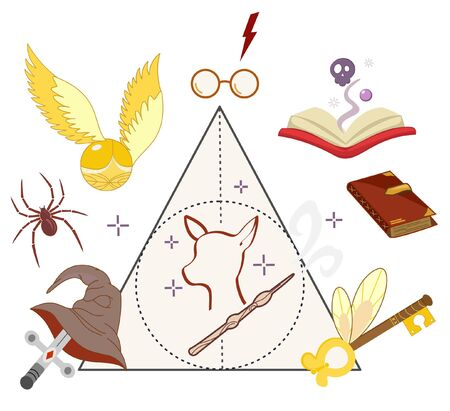Set of magic vector icons, sword, glasses, lightning, hat.