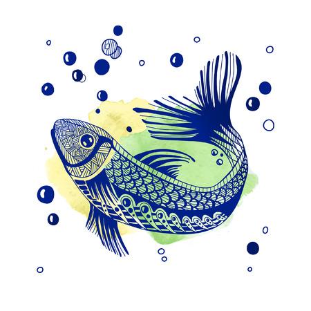 Hand drawn fantasy fish.