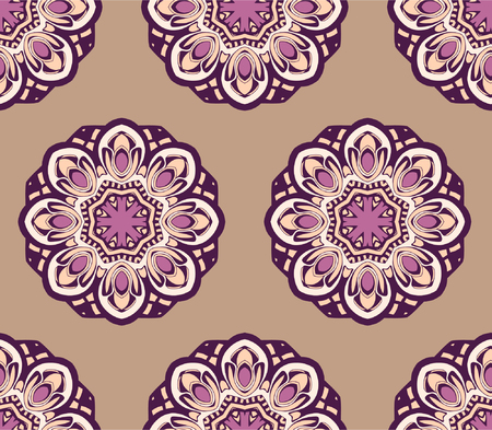 bilberry: Hand drawn seamless pattern with mandalas. Endless texture can be used for wallpaper, textile, pattern fills, web page background.