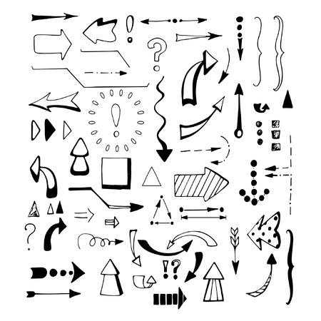 sketched arrows: Black arrows set on white background. Hand drawn arrows set. Sketched style.