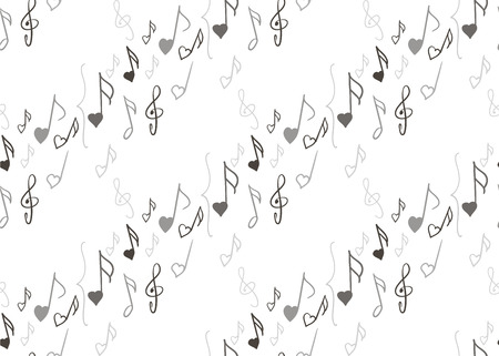 sixteenth note: seamless pattern with music notes and treble clefs on a white background. Endless texture can be used for wallpaper, textile, pattern fills, web page background. Illustration