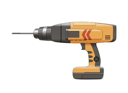 orange drill isolated on white background. Illustration