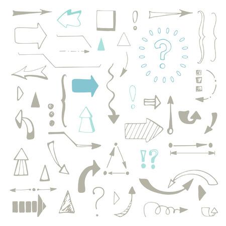 sketched arrows: Arrows set on white background.  arrows set. Sketched style. Gray arrows and symbols. Illustration