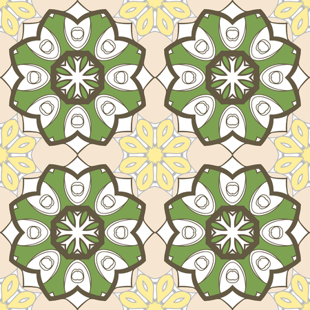 fussy: seamless pattern with mandalas. Endless texture can be used for wallpaper, textile, pattern fills, web page background. Illustration