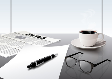 Business working in the office coffee glasses newspaper