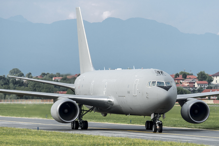 TORINO CASELLE AIRPORT - JULY 10, 2017: Boeing KC767A Air Force Military MM62229, Italian Air Force, land at Turin to take soldiers. It will bring them to the United Arab Emirates state. Editorial