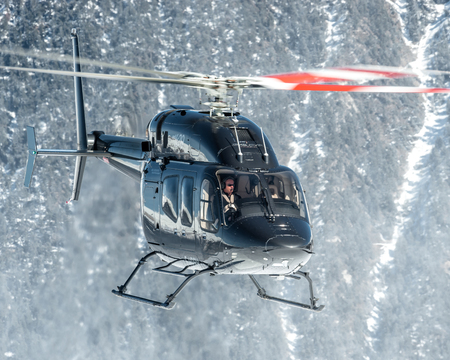 skiers: Landing at Courchevel Heliport, France, this fantastic Bell 429 GlobalRanger Editorial