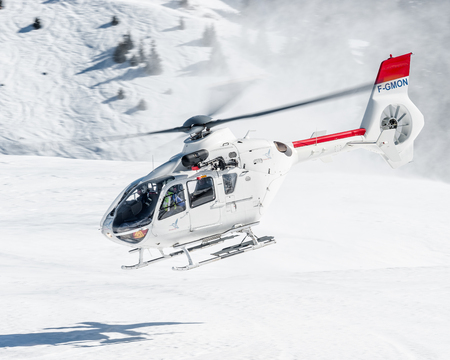 Fast departure from Courchevel Heliport, France Editorial