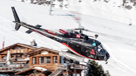 Eurocopter AS350 crossing Courchevel Altiport