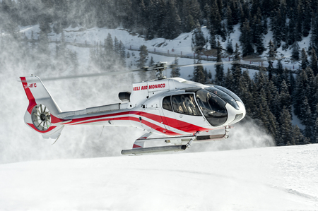 Eurocopter EC130 landed at Courchevel Heliport.