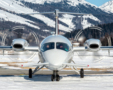 Taxiing over snow to parking at Samedan Engadine Airport