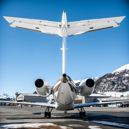 High tail of this E35L over this blue sky at Samedan Engadin Airport. Editorial