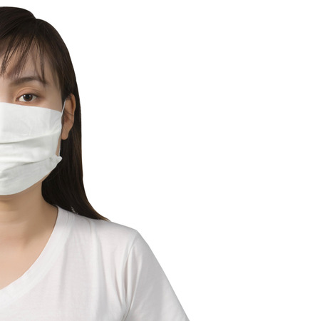surgical coat: A woman  wearing a face mask on isolated