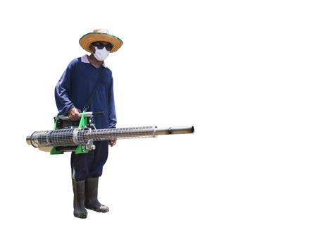 prevent: Man Fogging to prevent spread of dengue fever on isolate Stock Photo