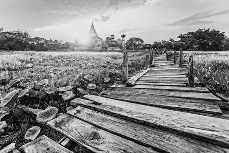 mahasarakham: Old kaedum wooden bridge black and white Stock Photo