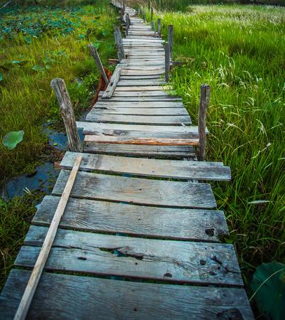 mahasarakham: Old kaedum wooden bridge Stock Photo